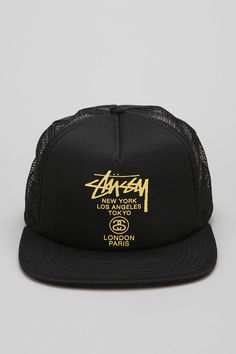 aba2358fc78 Stussy World Tour Trucker Hat  urbanoutfitters Stussy Snapback