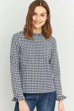 Urban Outfitters Blue Gingham Ruffle Blouse