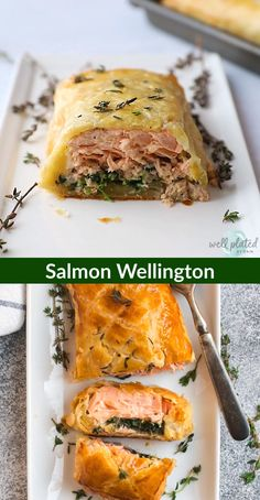 This easy Salmon Wellington {also called Salmon En Croute or Salmon in Puff Pastry} is a but impressive recipe you can prep ahead for entertaining. Salmon wrapped in puff pastry with spinach, then bak Baked Salmon Recipes, Fish Recipes, Seafood Recipes, Cooking Recipes, Healthy Recipes, Wild Salmon Recipe Baked, Pesto Salmon Baked, Salmon With Skin Recipes, Salmon Spinach Recipes