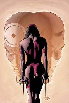 "batveriasmash: "" Elektra, Daredevil and Bullseye by Mike Deodato Jr "" Comic Book Characters, Comic Character, Comic Books Art, Book Art, Marvel Characters, Marvel Comics, Marvel Vs, Marvel Heroes, Frank Miller"