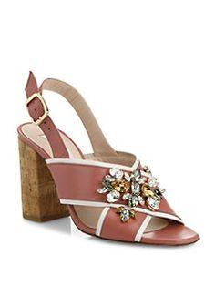L.K. Bennett - Ynes Embellished Nappa Leather Slingback Sandals