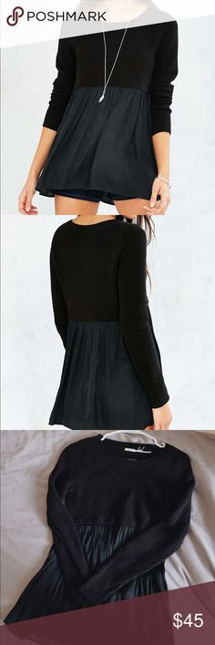 Kimchi Blue Babydoll Sweater - Black, PERFECT cond This sweater is so cute, and in perfect condition!! Worn less than five times. Only selling because I need to downsize my closet before moving. So cute for day-to-day or to dress up. Will consider reasonable offers, but no trades please. 💕 Urban Outfitters Sweaters Crew & Scoop Necks