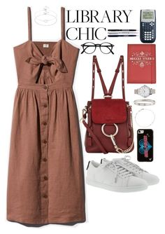 """library chic"" by ohsnapitzblanca ❤ liked on Polyvore featuring Yves Saint Laurent, Chloé, Wildflower, Olivia Burton, Cartier, Astley Clarke, Accessorize, StreetStyle, BackToSchool and school"