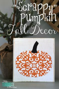 DIY Halloween: DIY Scrappy Pumpkin Fall Decor: DIY Halloween Decorations- Would be a cute card! Diy Deco Halloween, Happy Halloween, Fall Halloween, Halloween Crafts, Halloween Ideas, Fall Crafts, Holiday Crafts, Holiday Fun, Pumpkin Crafts