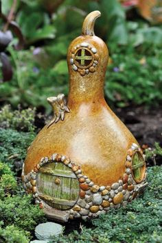 I love this idea! gourd fairy house