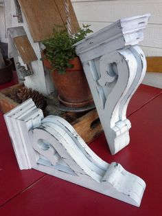New item.  PLEASE NOTE PRICE IS FOR 2 CORBELS... Two corbels made of reclaimed and new wood, Hand sanded and finished in rustic white color.