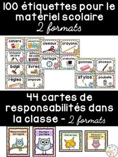 Ensemble d'étiquettes pour la classe- Hiboux -French Class Document, Multiplication, Periodic Table, French Stuff, Bullet Journal, School, Primary Classroom, School Equipment, Classroom Management