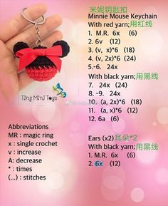 Excited to share the latest addition to my shop: Disney Minnie Mouse Keyring Crochet Mickey Mouse Key Chains Crochet Keychain Pattern, Crochet Amigurumi Free Patterns, Crochet Doll Pattern, Crochet Dolls, Crochet Fish, Crochet Bear, Crochet Gifts, Cute Crochet, Crochet Mickey Mouse
