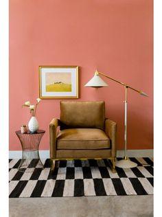 Tate Rug, Ebony by Lulu and Georgia! Shop the look! #LANDGATHOME Mid century // velvet // checkered floors // black and white rug // pink //