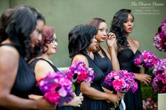 Magenta, purple and plum bridesmaids bouquets. Floral Design by theflowerhouse.com