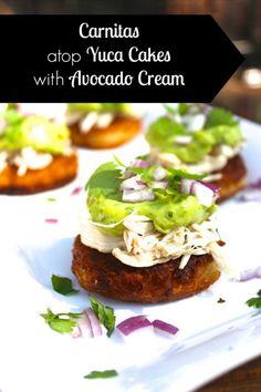 Predominantly Paleo's EPIC AIP Round-Up & New Recipe for Carnitas atop Yuca Cakes with Avocado Cream #paleo