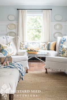 wing chair drop cloth slipcovers - Miss Mustard Seed-LOVE the wall color and the drop cloth slip covers:)