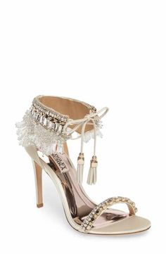 Badgley Mischka Katrina Embellished Satin Ankle Tie High-heel Sandals In Ivory Nude Shoes, Shoes Heels Wedges, Women's Shoes, Ivory Shoes, Badgley Mischka Shoes, Rhinestone Shoes, Jeweled Sandals, Wedding Heels, Gold Wedding