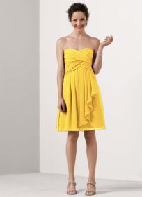 Short Crinkle Chiffon Dress with Front Cascade - David's Bridal (SUNBEAM) $139