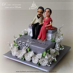 25th Wedding Anniversary Cakes, Anniversary Cake Designs, Cake Decorating Designs, Creative Cake Decorating, New Year Cake Decoration, Blue Cake Pops, Fondant Cake Designs, Mom Cake, Adult Birthday Cakes
