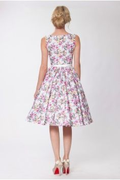 SEXYHER Classy Vintage Audrey Hepburn Style 1950's Rockabilly Swing Floral Dress