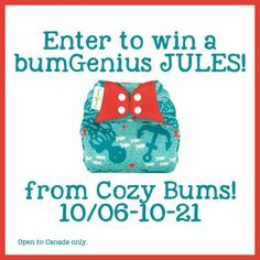 You can enter to win a Jules limited edition print Bum Genius cloth diaper, which fits from birth to potty training!  Canada only, ends Oct 21, 2014.