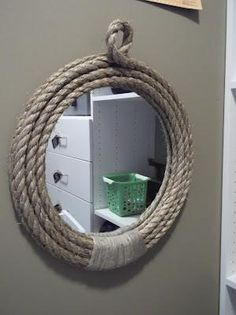 DIY Pirate Rope Mirror DIY Mirror DIY Home DIY Decor or use regular rope & a horse shoe for a western look