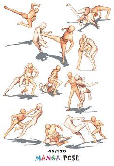 Tutorial Drawing Manga pose. Big posebook for manga anime character : Fighting poses