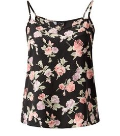 "Give a pair of leather-look slim fit trousers a more feminine touch with this rose print cami, add white ankle strap heels to finish.- All over rose print- Shoestring straps- V neck- Casual fit- Basic design- Soft breathable fabric- Model is 5'8""/176cm and wears UK 10/EU 38/US 6"