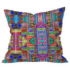 Amy Sia Tribal Patchwork Red Throw Pillow sale on Joss and Main