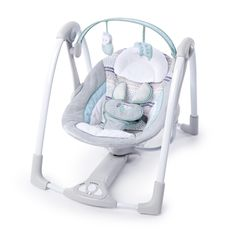 Ingenuity Swing 'n Go Portable Baby Swings Hugs & Hoots. The swing 'n go portable swing provides plush luxury with portable convenience! The portable swing includes easy-to-clean fabrics and folds flat for easy transport and storage. Cheap Baby Swings, Portable Baby Swing, Elephant Bleu, Baby Boy Or Girl, Baby Boys, Seat Pads, Baby Gear, Baby Car Seats, New Baby Products