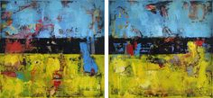 """Hay is a yellow and blue 40x80"""" modern diptych painting by Shawn McNulty. ©2012"""