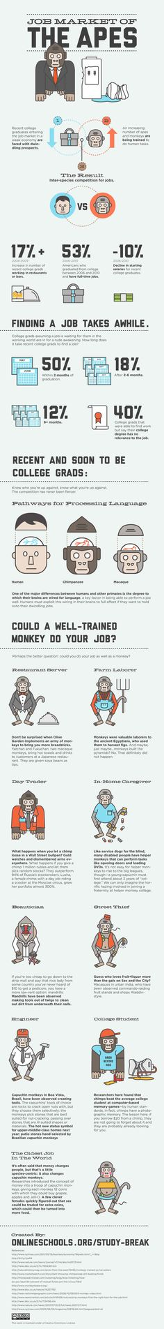 Unique Infographic Design, Jobs Market Of The Apes #infographic #Design (http://www.pinterest.com/aldenchong/)