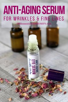natural anti-aging serum with essential oils -- boosts collagen, rejuvenates cells, and plumps skin to reduce appearance of fine lines and wrinkles {essential oil recipes, essential oil uses, natural beauty, DIY recipes, essential oils for wrinkles, essential oils for aging, essential oils for skincare}