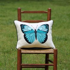Each turquoise butterfly needlepoint kit by Modern Needleworks is neatly presented in a 100% recycled kraft gift box making it ideal for gift giving and contains the following: - A preprinted Zweigart