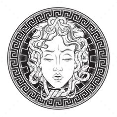 Medusa Gorgon head on a shield hand drawn line art and dot work tattoo or print . - Medusa Gorgon head on a shield hand drawn line art and dot work tattoo or print design isolated vec - Line Art Vector, Medusa Tattoo, Greek Tattoos, Art Tattoo, Mythology Tattoos, Shield Tattoo, Dot Work Tattoo, How To Draw Hands, Head Tattoos