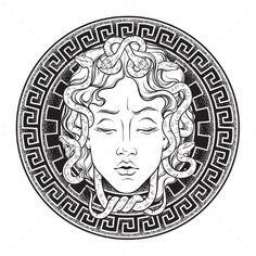 Medusa Gorgon head on a shield hand drawn line art and dot work tattoo or print . - Medusa Gorgon head on a shield hand drawn line art and dot work tattoo or print design isolated vec - Medusa Gorgon, Medusa Kunst, Medusa Art, Medusa Head, Medusa Drawing, Medusa Snake, Serpent Snake, Medusa Tattoo, Head Tattoos