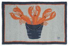 Lobster Bucket Hooked Area Rug Beach Decor | Nautical Decor | Tropical Decor | Coastal Decor