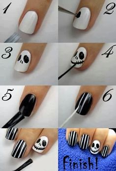 Halloween nail art- remember guys all you need  is a toothpick and tape (or an end of a pencil :)) Soz I haven't been pinning many nail art pics lately :(