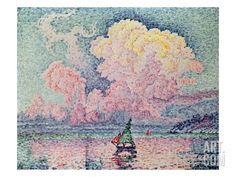 The Pink Cloud, Oil on canvas. Le Nuage Rose, Antibes Paul Signac One of my fav! Georges Seurat, Antibes, Paul Signac, Art Français, Ouvrages D'art, Pink Clouds, Art Moderne, Claude Monet, French Art