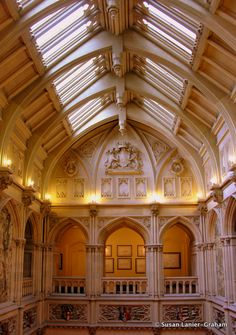 50-foot vaulted ceiling over saloon at Highclere Castle. The Real Downton Abbey on WanderWithWonder.com #Downton Abbey #England #castles