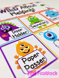 Monster Classroom Decor Theme - Freebies, Ideas, Materials, Decorations, Bulletin Board Display, Student Job Cards, Grouping Cards, Binder Covers, Alphabet and Cursive Posters, Welcome Banner, Name Tags $