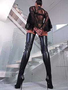 high heel boots with fur Thigh High Boots Heels, Sexy High Heels, Heeled Boots, Sexy Stiefel, Crotch Boots, Leder Boots, High Leather Boots, Real Leather, Black Leather