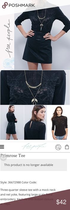 """BNWT Free People Tee Brand new with tags - Free People Primrose Tee Three-quarter sleeve tee with a mock neck and net yoke, featuring large-scale floral embroidery. Keyhole with button closure at nape. 80% Cotton, 20% Linen Approx. 25"""" long Color: Black Size: XS Retail Price $78   Check out my closet for over 200 NWT Retail Items - Free People, Wildfox, Chaser, & many more!   All prices are negotiable. Make me an offer:) Free People Tops Tees - Short Sleeve"""