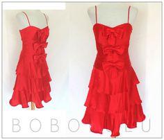 DESIGNER OLEG CASSINI 100% RED Silk DRESS Sexy Strappy WEDDING Prom PARTY 10