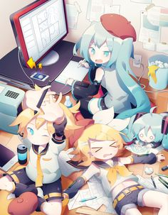 Vocaloid Piko, Vocaloid Mayu, Vocaloid Funny, Kagamine Rin And Len, Kaito, Miku Chibi, Anime Chibi, Manga Anime, Anime Art