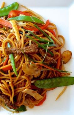 LO MEIN ~~~ recipe gateway: a BEEF LO MEIN construct is shared at this post's link + a CHICKEN, SHIITAKE & CABBAGE LO MEIN is at http://www.tablefortwoblog.com/chicken-lo-mein/ + two spicy shares (one all vegetable and the other with shrimp and zucchini) at https://www.pinterest.com/pin/239816748885231821/ + an excellent VEGETABLE LO MEIN is at http://thewoksoflife.com/2014/09/vegetable-lo-mein/ [USA, Chinese-American Cuisine] [thewoksoflife]