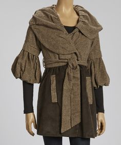 Brown Asymmetrical Bell-Sleeve Coat | Daily deals for moms, babies and kids
