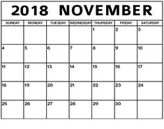 Free Cute Printable Exercise Calendar November 2018