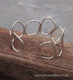 Hammered sterling silver bangle, cuff £46.00 #SterlingSilverJewellery #silvernicejewelry