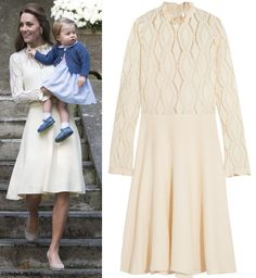 hrhduchesskate:  Duchess of Cambridge debuted a See by Chloé Pointelle-knit cotton-blend dress, accessorized with Acne Studios Leather Waist belt in cream, Monsoon Fleur wedges, and her Kiki McDonough 'Lauren Leaf' earrings
