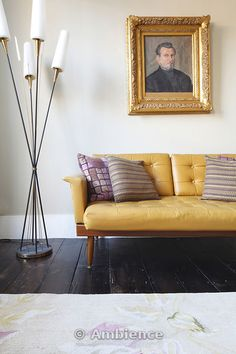 mustard yellow leather sofa in elegant georgian sitting room on Ambience Images from Arcaid Images, The architectural picture agency Yellow Leather Sofas, Yellow Sofa, Leather Lounge, Black Sofa, Mustard Sofa, Mustard Yellow, Cottage Living Rooms, Living Spaces, Living Room Inspiration