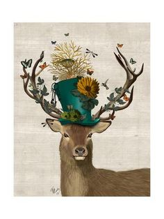 Mad Hatter Deer Art Print by Fab Funky at Art.com