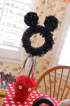 Mickey Mouse homemade centerpiece... just add a bow for Minnie Mouse!