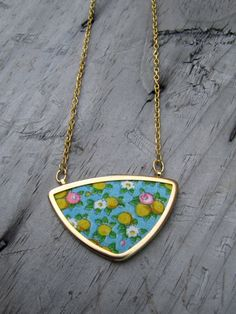 Vintage Fabric Triangle Necklace